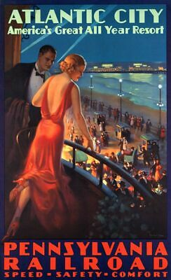 £13.08 • Buy Vintage Illustrated Travel Poster CANVAS PRINT Atlantic City A3