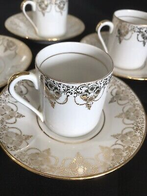 £25 • Buy Vintage French Coffee Cup & Saucer Set X 4 VGC Gold On White Porcelaine