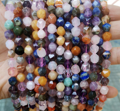 $ CDN24.28 • Buy 3bars 6-10mm Natural Stone Gemstone Loose Beads Faceted Crystal Diamond Beads