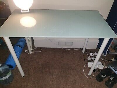 £10 • Buy Ikea Glasholm Glass Desk Table Top With Legs