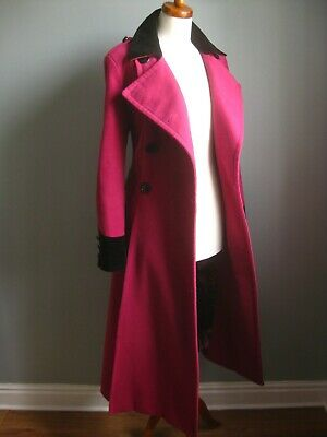 £69.99 • Buy M&S TWIGGY Pink Long TRENCH COAT 16 14 Victorian Riding Fit Flare Military Great