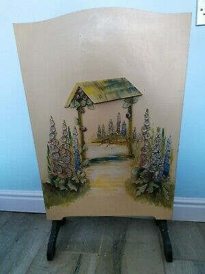 £34.99 • Buy Vintage Art Deco Wooden Fire Screen With Embossed Floral Carving Design
