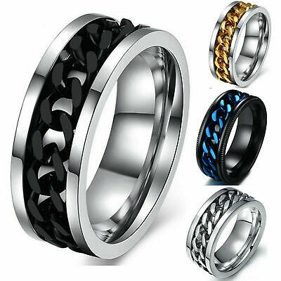 $2.91 • Buy Men's Anxiety Spinner Ring Stainless Steel Curb Chain Wedding Band, Comfort Fit