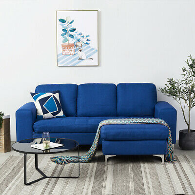 £139.99 • Buy 2 3 Seater L-Shape Corner Sofa Blue Linen Fabric Armchair W Footstool Home Couch