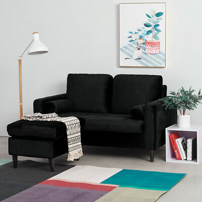 £119.99 • Buy 2 3 Seater Black Corner Sofa Bed With 2 Cushions & Footstool Home Settee Couch
