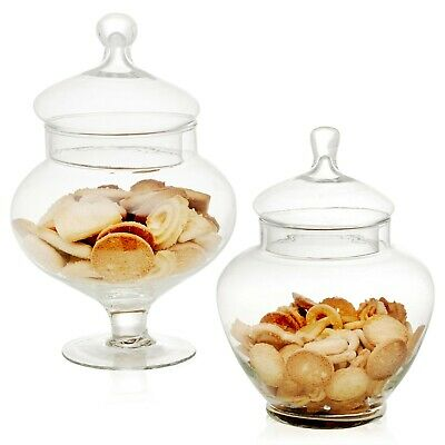 £16.99 • Buy Squat Clear Glass Bonbon Sweet Candy Storage Jar With Lid Wedding Party Gift Box