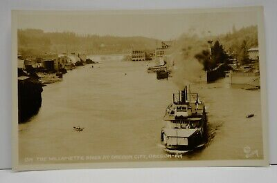 $27.99 • Buy 1900's Steamboat Claire Willamette River Oregon City  Mills Eooy RPPC Photo Vtg