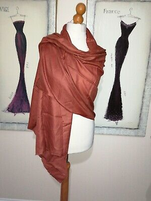 £14.99 • Buy Pashmina Shawl Wrap Terracotta Oversized Scarf Pure Cashmere Hand Made In Nepal