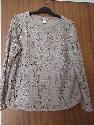 $6.26 • Buy Size M H&M Nude Brown Lacey Front Fleece Top
