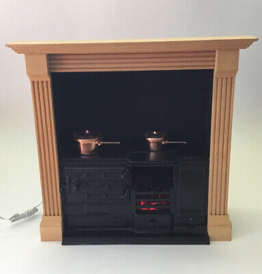 £10 • Buy Dolls House Light-Up Kitchen Stove With Fire Surround