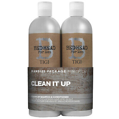 £17 • Buy TIGI Bed Head For Men Wash And Care Clean Up Tween Set: Daily Shampoo 750ml & Pe