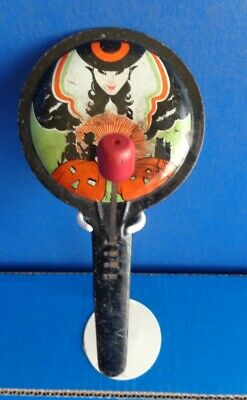 $ CDN36.54 • Buy Vintage Halloween Witch Tin Noisemaker- Reverse Indented Frying Pan Style