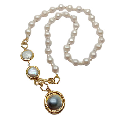 $19.90 • Buy Cultured White Pearl Necklace Mabe Pearl Pendant 21