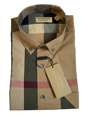 $150 • Buy Burberry Men's Long Sleeve Check Casual Sport Fit Stretch Camel Shirt