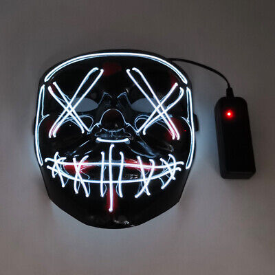 $ CDN16.85 • Buy White For LED Beauty Mask Fancy Dress Halloween Scary Purge Masks Cosplay Prop