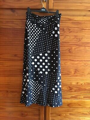£7.99 • Buy Ladies Maxi Skirt Size 22-24 Black Jersey Polka Dot Comfy Pull On