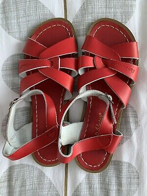 £9.99 • Buy Women's Saltwater Sandals Red UK6 Leather Original 1940s Style Flat Summer Shoes