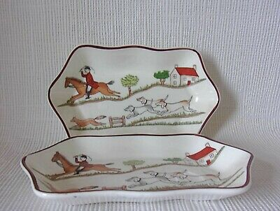 £12.95 • Buy COALPORT HUNTING SCENE PIN DISHES 145 X 90mm    - GREAT CONDITION