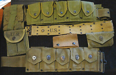 $185 • Buy WWII M1 Canvas Ammo Pouches, WWII Pistol Belt , WWI & WWII First Aid Pouches ETC