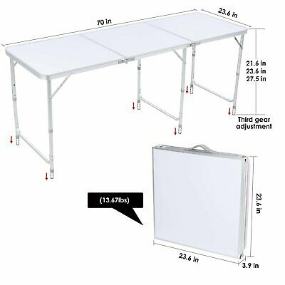 £37.99 • Buy 6ft Picnic Portable Folding Camping Table Aluminium Adjustable Party BBQ Outdoor