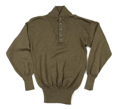$24 • Buy VTG US Military Army Green High-Neck Button Pullover Sweater Wool Slim L (M)