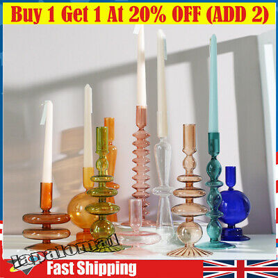 £11.69 • Buy Nordic Glass Candle Holder Romantic Dinner Home Decor Candlestick For Wending UK