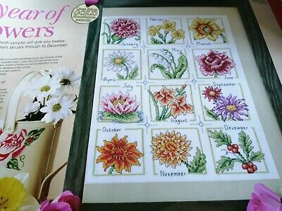 £1.99 • Buy Cross Stitch Chart Flower Of The Month Sampler Chart Only A Year In Flowers