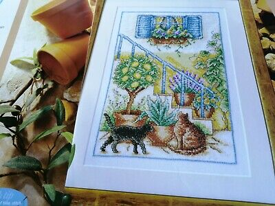 £1.99 • Buy Cross Stitch Chart Mediterranean Courtyard View Cats Flowers  Chart Only