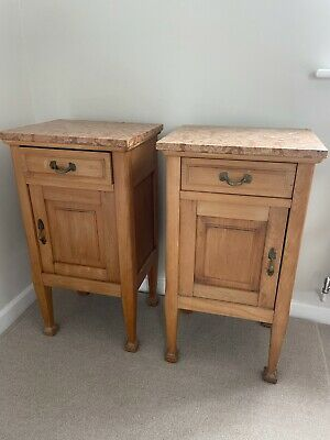 £190 • Buy Pair Of Antique Marble-Topped Bedside Tables Cupboards Cabinets