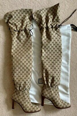 £650 • Buy Original GG Canvas Over The Knee Boot GUCCI Size 38+ Authentic