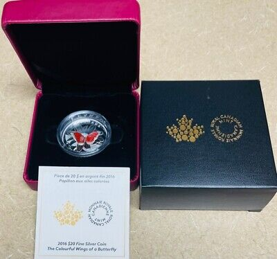 $100 • Buy Canada Colorful Agate Wings Of Butterfly $20 2016 1oz Pure Silver Proof Coin
