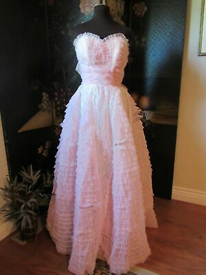 £10.64 • Buy Vintage 1950's Pink Ruffled Organza Party Prom Strapless Dress Gown - Size XXS