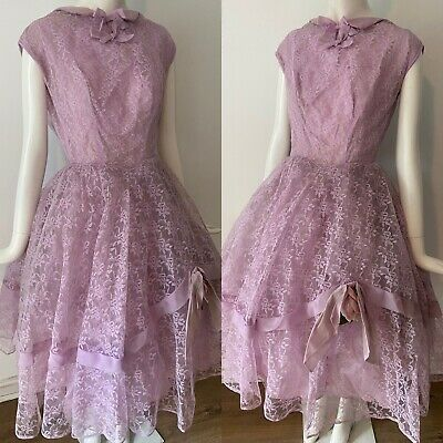 £34.99 • Buy 1950s Rockabilly Pale Pink Lace Flower Embellished Prom Full Circle Dress 8 36