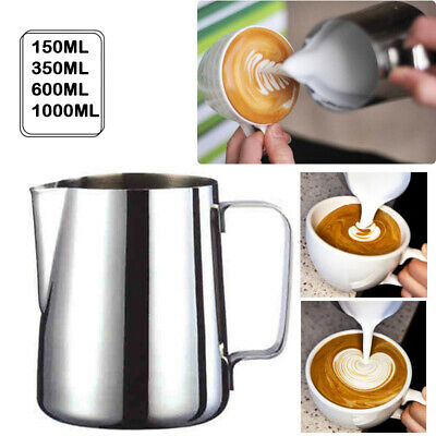 £7.08 • Buy Milk Frothing Jug Frother Metal Pitcher Stainles Steel Coffee Latte Container✅