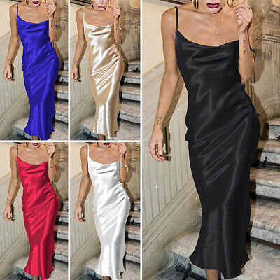 £13.99 • Buy Womens Sexy Silk Satin Midi Dress Ladies Summer Backless Ball Gown Party Dresses