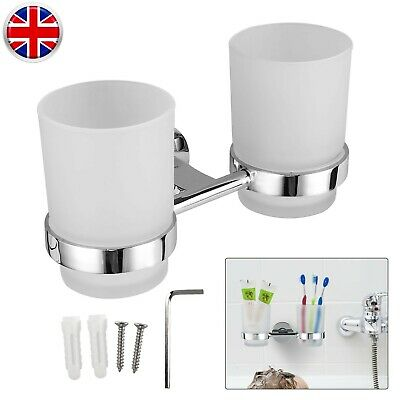 £10.99 • Buy Double Toothbrush Holder Wall Mounted Chrome Toothbrush Tumbler Cup For Bathroom