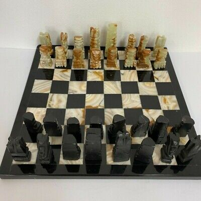 £17 • Buy Handmade Carved Stone Alabaster Marble Chess Set & Board   (Sto)