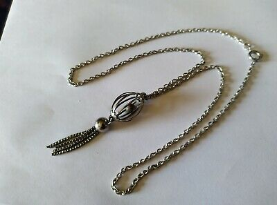 £4.20 • Buy Antique Victorian Solid Silver Ball In A Cage Tasseled Necklace.