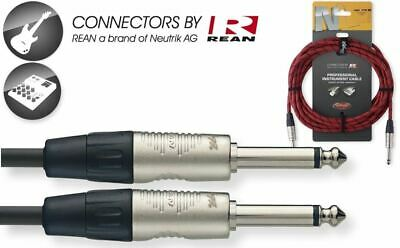 $ CDN24.84 • Buy Red 25' Neutrik Vintage Tweed Cloth Guitar Amp Cable Cord Stagg # NGC7,6VTR RD