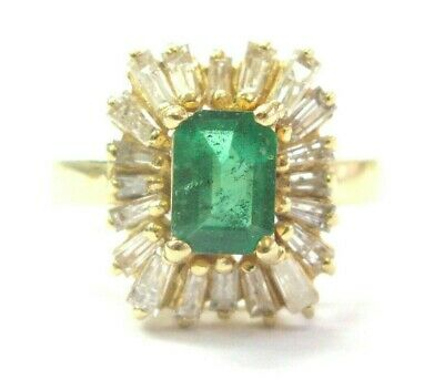 AU2724.40 • Buy Colombian Green Emerald & Diamond Ring 14Kt Yellow Gold 2.30Ct SIZEABLE