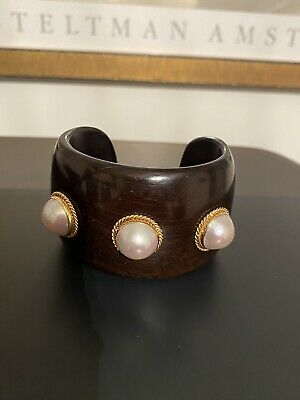 $245 • Buy Exceptional Estate Wide Gold Tone Mabe Pearl & Wood Cuff Bracelet 2 Inches Wide