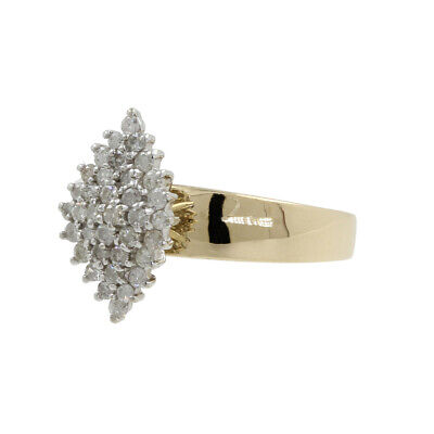 AU362.26 • Buy 10k Yellow Gold Marquise Shaped Round Diamond Cluster Engagement Ring
