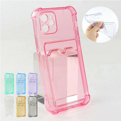 AU7.59 • Buy For IPhone 12 11 Pro Max XS XR 7 8 Plus Case Soft Rubber Card Holder Clear Cover