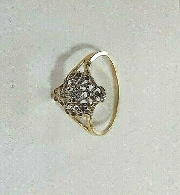 AU195 • Buy Antique 10ct Stamped Yellow Gold And Central Round Diamond Wed/eng Ring Size O