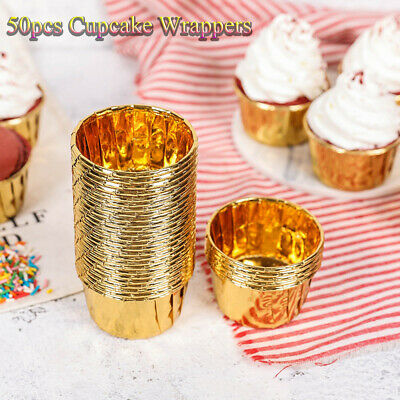 £4.66 • Buy Gold Silver Cupcake Wrappers Crimping Muffin Cases Baking Mold Cake Paper Cups