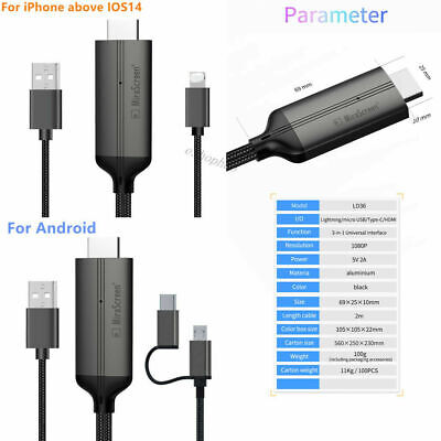 $ CDN13.83 • Buy 1080P HDMI Cable Phone To TV Converter HDTV Adapter For IPhone IOS14 Andriod