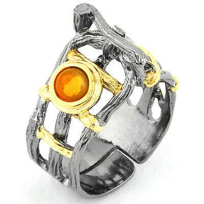 £0.71 • Buy Unheated Natural 5mm Mexican Fire Opal Handmade 2-tone Silver 925 Ring Size 9