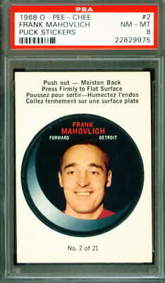 $55.95 • Buy 1968 OPC, O-PEE-CHEE Hockey  Puck Stickers  #2 FRANK MAHOVLICH Red Wings - PSA 8