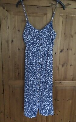 £3.50 • Buy New Look Button Front Blue Spagehtti Strap Sun Dress Size 16