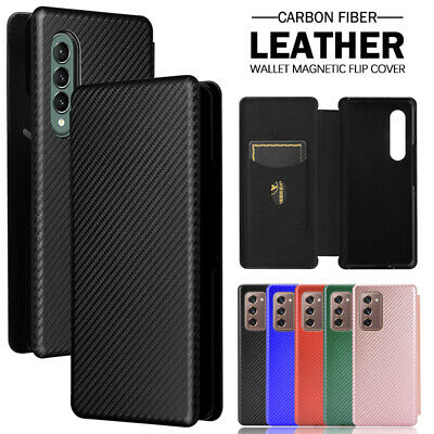 AU23.99 • Buy For Samsung Galaxy Z Fold 3 2 Luxury Case Carbon Fiber Leather Card Wallet Cover